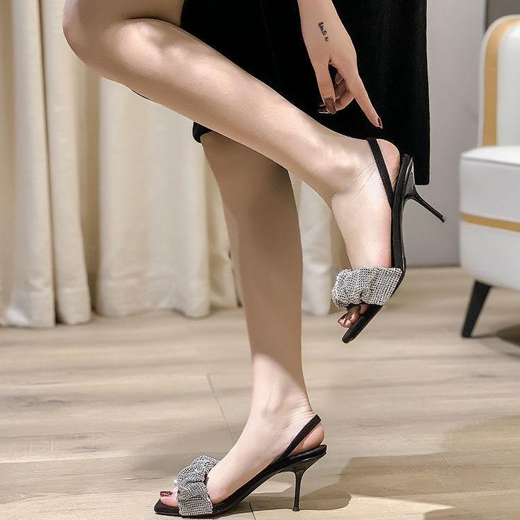 明星同款凉鞋2021年新款女方头拖鞋仙女风水钻细跟高跟鞋