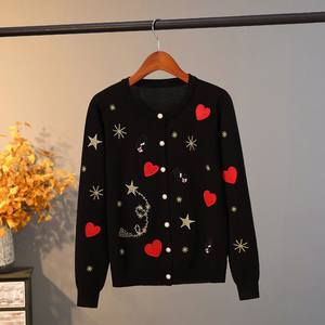 刺绣重工星星春秋季圆领外套毛线衫