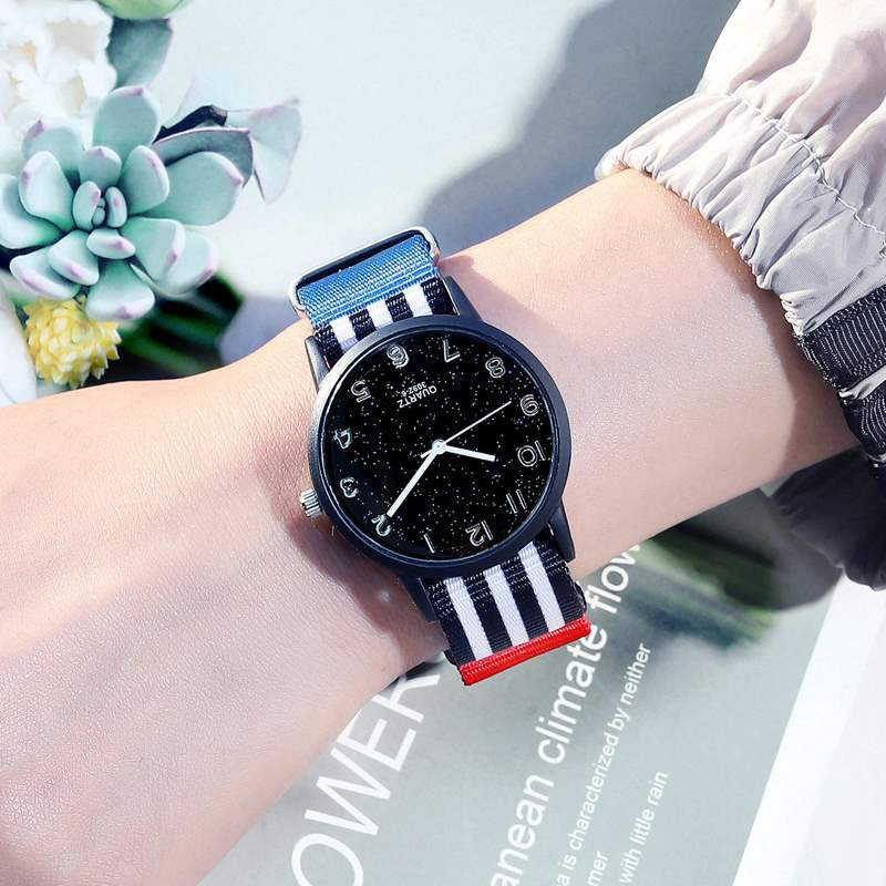Waterproof fashion test youth watch mens junior high school students canvas starry sky simple electronic