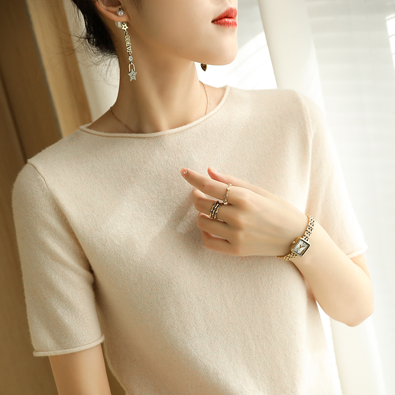 2021 spring and summer half high collar non cashmere short sleeve foreign style dress fashion curled sleeve wool knitted bottomed T-shirt
