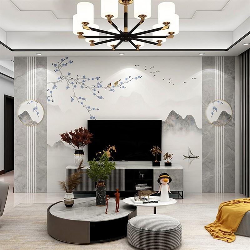 新中式电视机背景墙n壁纸客厅卧室书布山水墙花房鸟影视墙壁画墙