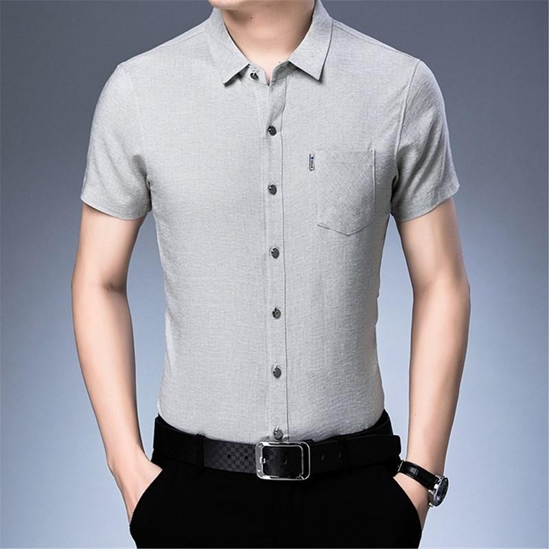 中年男士短袖衬衫冰丝光棉衬衣土高端条纹商务半袖短衫中老年男装