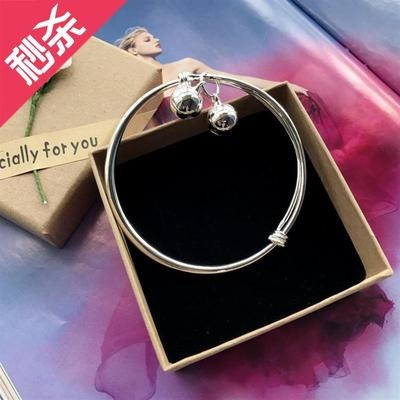Version Anklet bell fashion temperament Anklet smooth silver ring Korean girls small feet new product I simple
