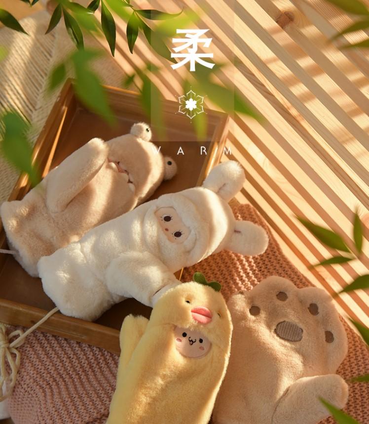 脖学生猫咪保暖冬天秋冬挂版冬季ins加厚毛绒可爱爪卡通手套。韩