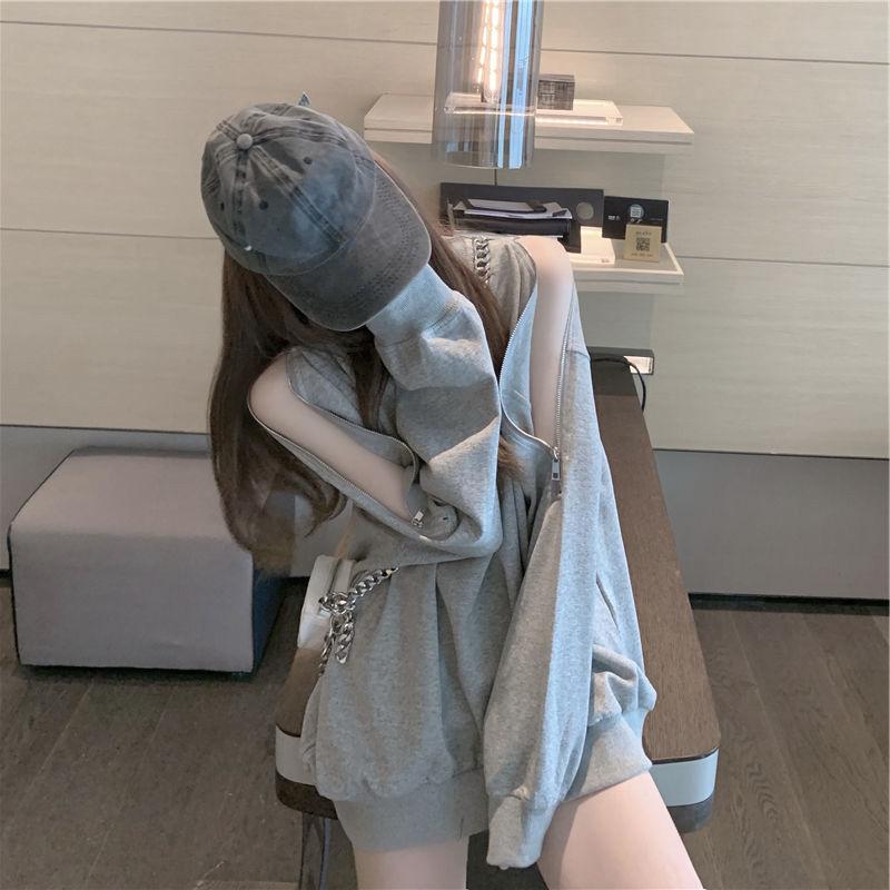 拉链灰色女士卫衣潮ins早秋薄款宽松设计感小众露肩长袖上衣外套