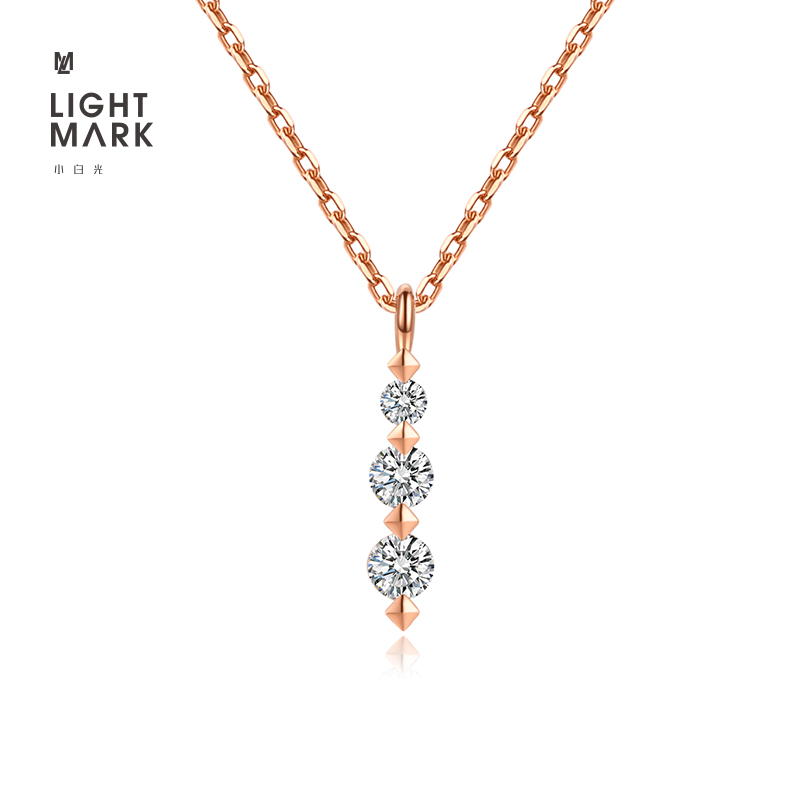 Light mark / small white rose 18K Gold cultivation diamond pendant, clavicle chain necklace, gift for girlfriend
