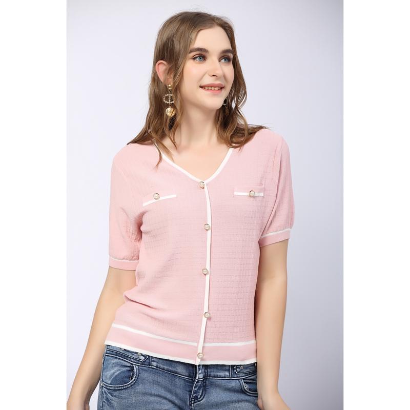 2021年夏新款V领T恤女冰丝宽松百搭假开衫纽扣套头时尚薄针织上衣