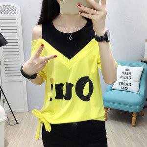 2021年新款夏装短袖T恤女宽松韩版大码假两件露肩上衣服女装ins潮