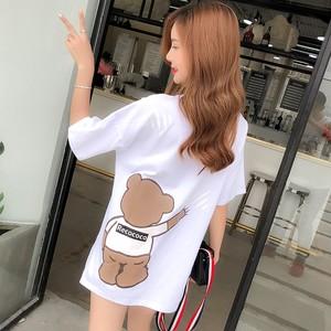纯棉白色中长款女装2021年短袖t恤