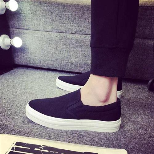 。 Mens canvas shoes with low top and thick bottom, Korean leisure shoes, spring t lazy shoes, yellow