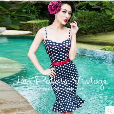 Le PA ◆ new style ◆ Lais Vintage exclusive sweet dark blue wave dot contrast corset style tight fishtail