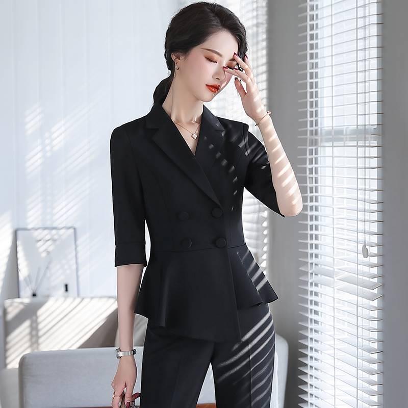ファッションの小さいスーツは季节に女性の7分の袖のオーバーの韩版の修身して服のハスの叶の辺の西の工服の夏の新型olを行います。