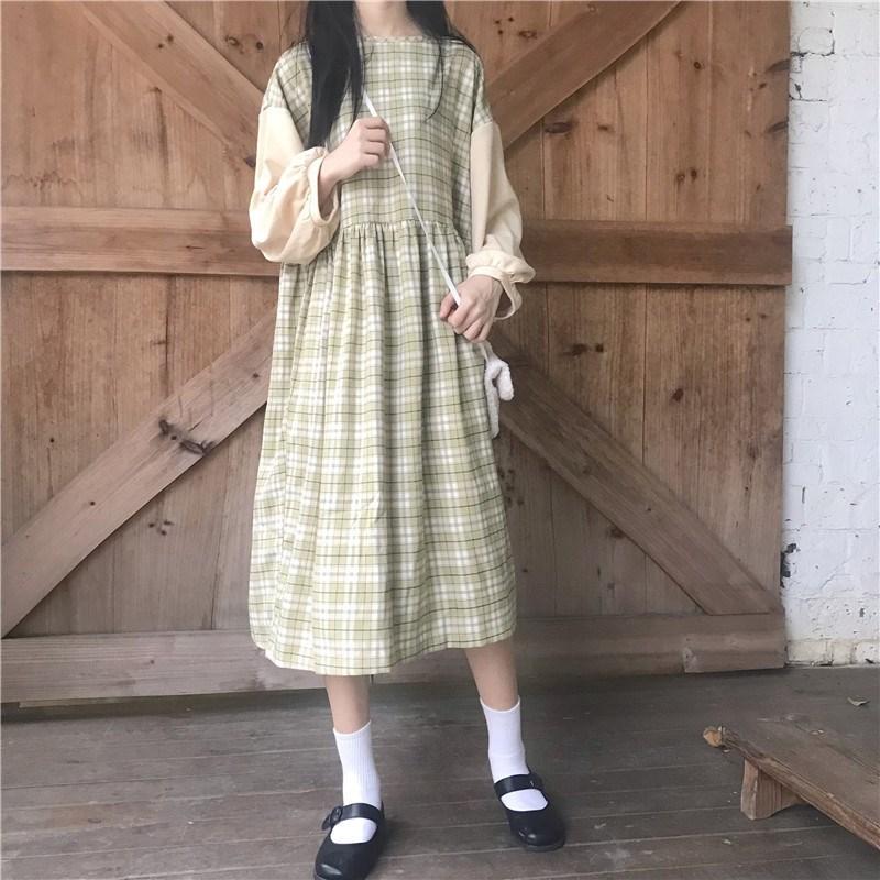 日系风格少女穿搭长袖子连衣裙小清新女装文艺裙子超仙森女系复古