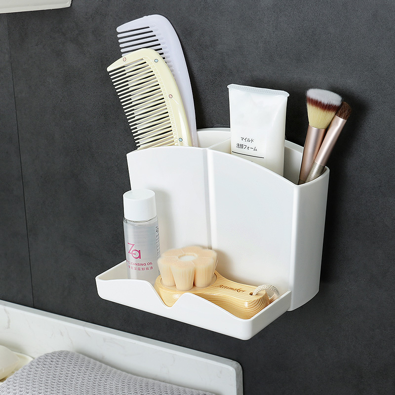 Toothbrush toothpaste comb storage cylinder punch free Eyebrow Pencil Cosmetic Brush bucket wall hanging comb rack bathroom shelf