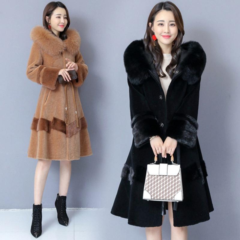 羊剪绒大衣女2020新款冬季气质收腰系带仿狐狸毛皮草外套中长款潮