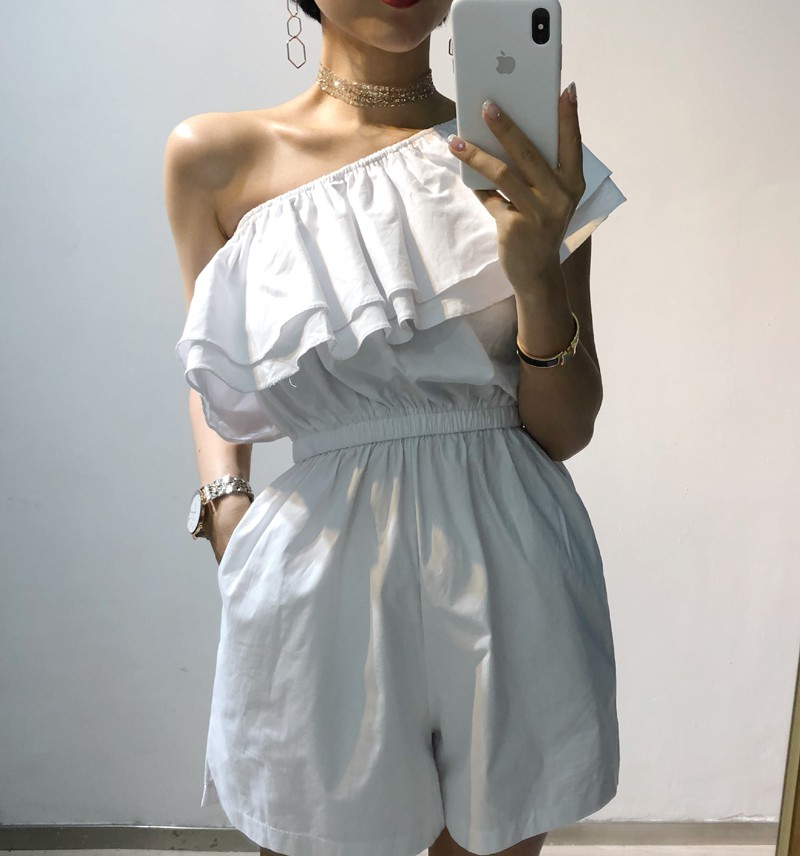 One line neck Ruffle one-piece pants womens wide leg open shoulder inclined shoulder wrapped chest and bra holiday jumpers womens thin pants