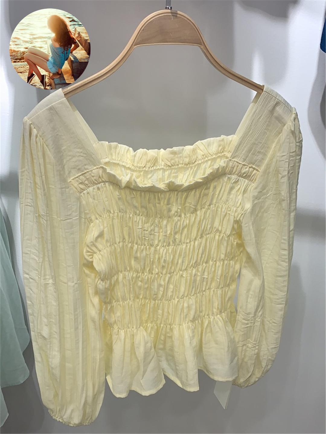 麦诺伊2021夏季新品MR421212016松紧收腰短款小衫女