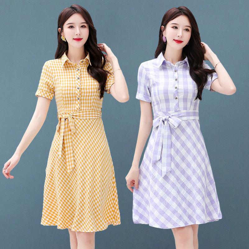 连衣裙2021夏季女中长款新款时尚简约韩版修身显瘦气质清新裙女