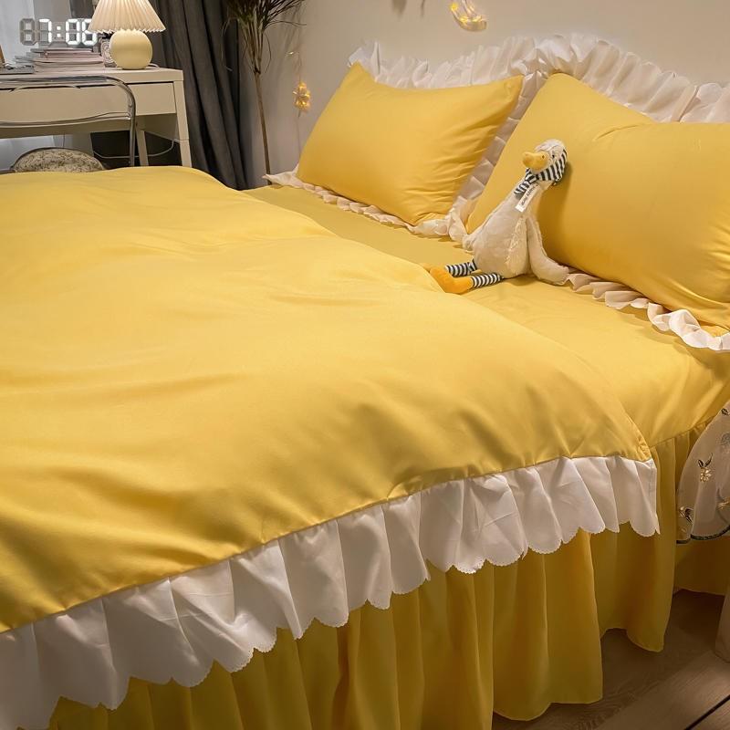 中國代購|中國批發-ibuy99|床品布艺|网红花边公主风少女心床裙床罩四件套学生宿舍床单被套三件套床品