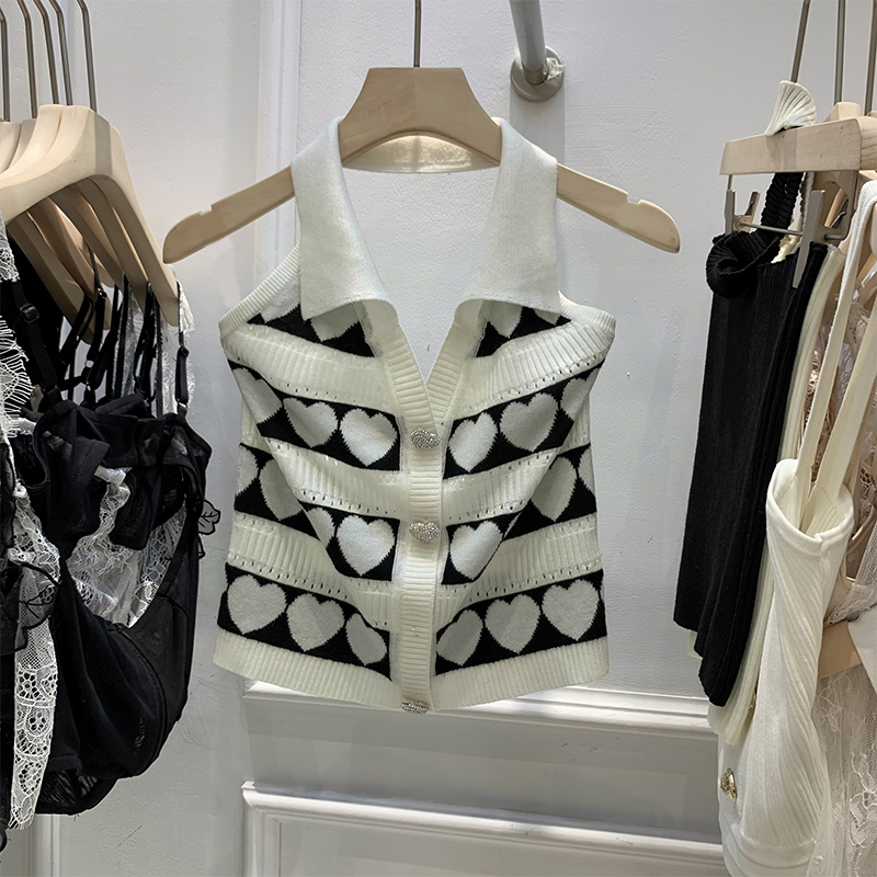 20 wear 1 summer f love pattern flash neck open back diamond sleeveless sweater short outer 2 suspender vest top
