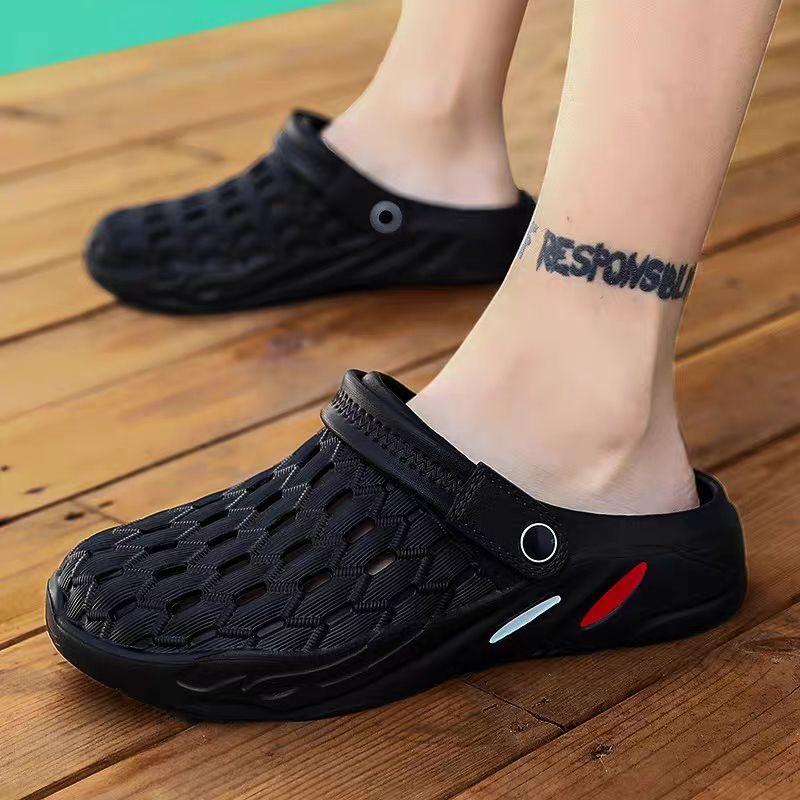 夏季洞洞鞋男士涼鞋防滑沙灘鞋休閑時尚半拖鞋透氣包頭鞋涼拖男