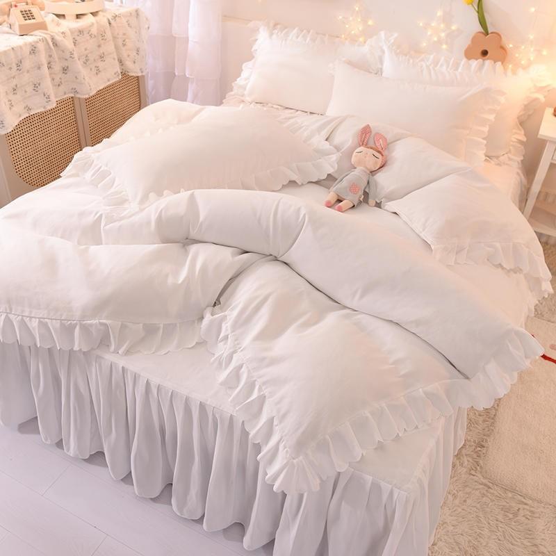 中國代購|中國批發-ibuy99|床品布艺|韩式床裙纯色少女心公主风花边四件套床品床单被罩学生宿舍三件套