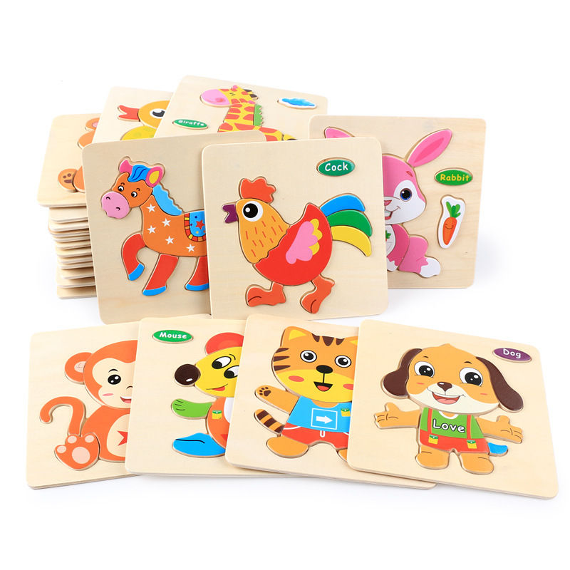 中國代購|中國批發-ibuy99|积木|木质拼图早教益智宝宝积木3d立体幼儿园玩具男女孩手抓板拼图游戏