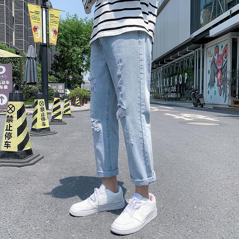 裤子男宽松直筒破洞牛仔裤男夏季薄款九分裤学生韩版潮流百搭男裤