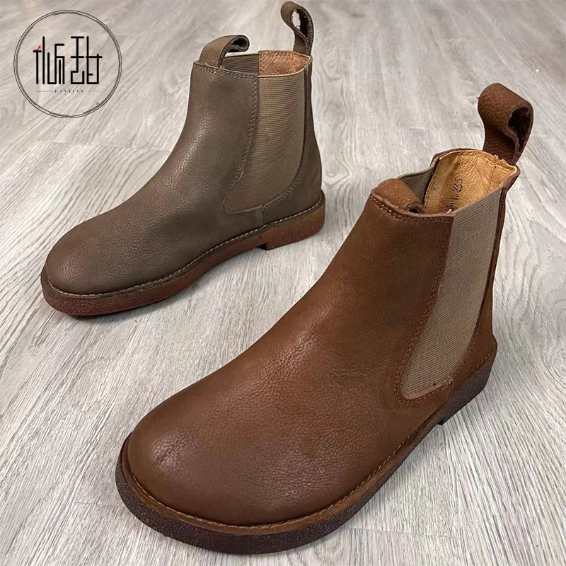 Bantian 2021 new spring and autumn short boots British style Chelsea boots middle chimney boots top layer cowhide tendon