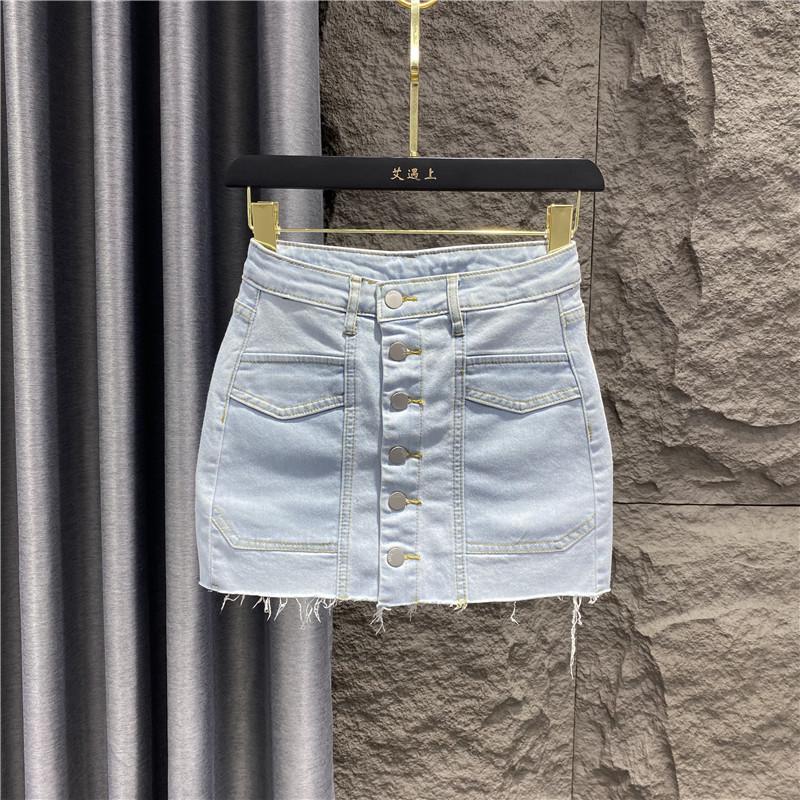 タオバオ仕入れ代行-ibuy99|短裙|牛仔短裙女夏季2021新款高腰a字纯色半身裙包臀裙防走光时尚半裙