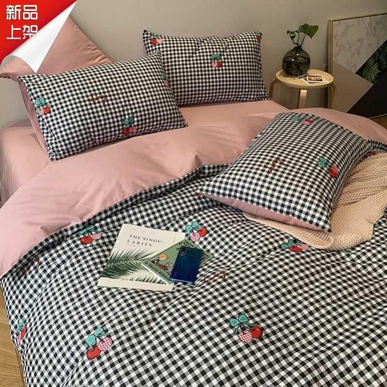 中國代購|中國批發-ibuy99|床上用品|北欧小清新可爱小猫床单床上用品四件套少女心被套学生宿舍三件.