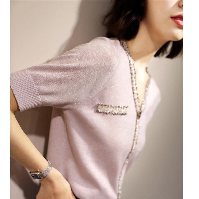 亮丝V领小香薄针织衫女夏风冰丝配苏花边短袖T恤流短裙Z的甜美上