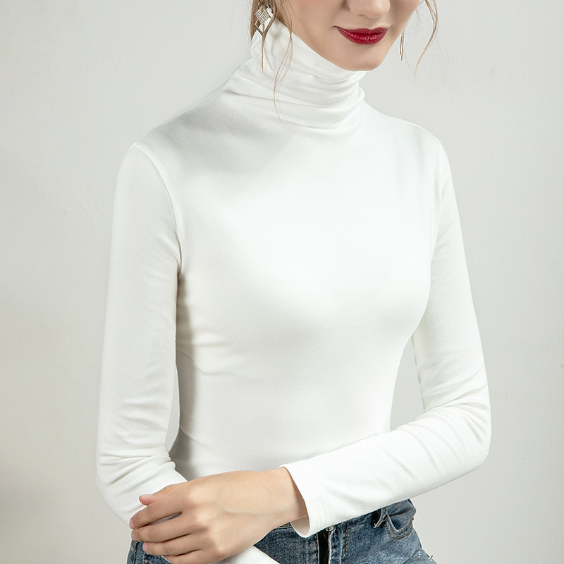 Vatilla 2021 autumn new T-shirt with top inside fashionable age reduction slim fit thin foreign style high collar bottomed shirt