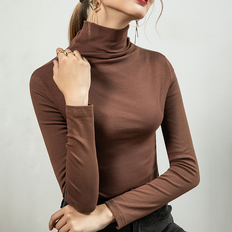 Vatila 2021 autumn new T-shirt fashionable top slim fit slim age foreign style high neck with bottom shirt