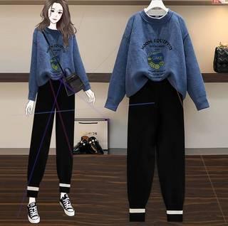 大码女装2021年秋季新款胖妹妹遮肚子减龄毛衣显瘦遮肉套装两件套