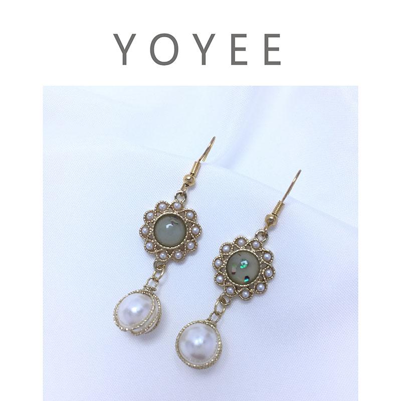 Yoyee minority original design Japan and South Korea gold-plated inlaid Gem Flower Earrings Silver Needle retro light luxury Earrings female