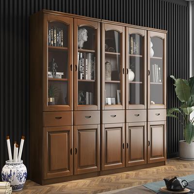实木橡木书柜带玻璃门三门简易中式书架储物学生书橱办公室文件柜