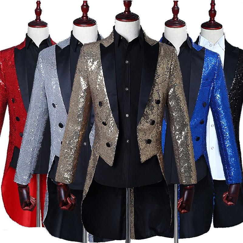 New mens Sequin tuxedo stage performance dress magician coat nightclub host bel canto NEW