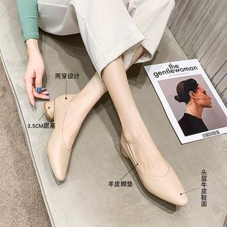 真皮奶奶鞋女粗跟软皮羊皮女鞋春秋单鞋2021年鞋子新款中跟高跟鞋