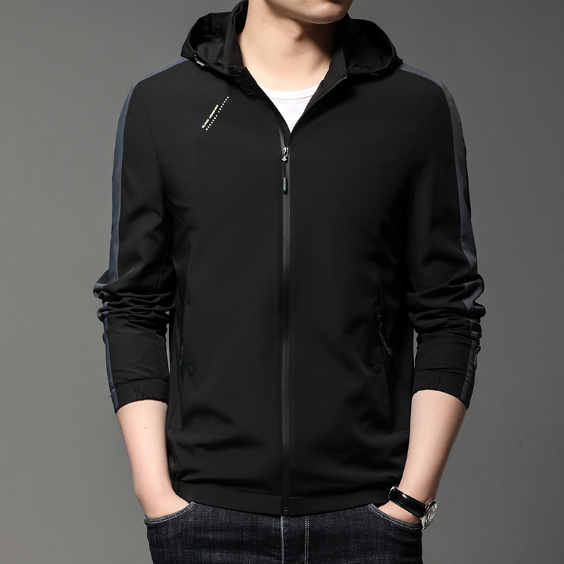 Fenghua Mucheng detachable Hooded Jacket Coat personality trend business casual mens zipper top autumn