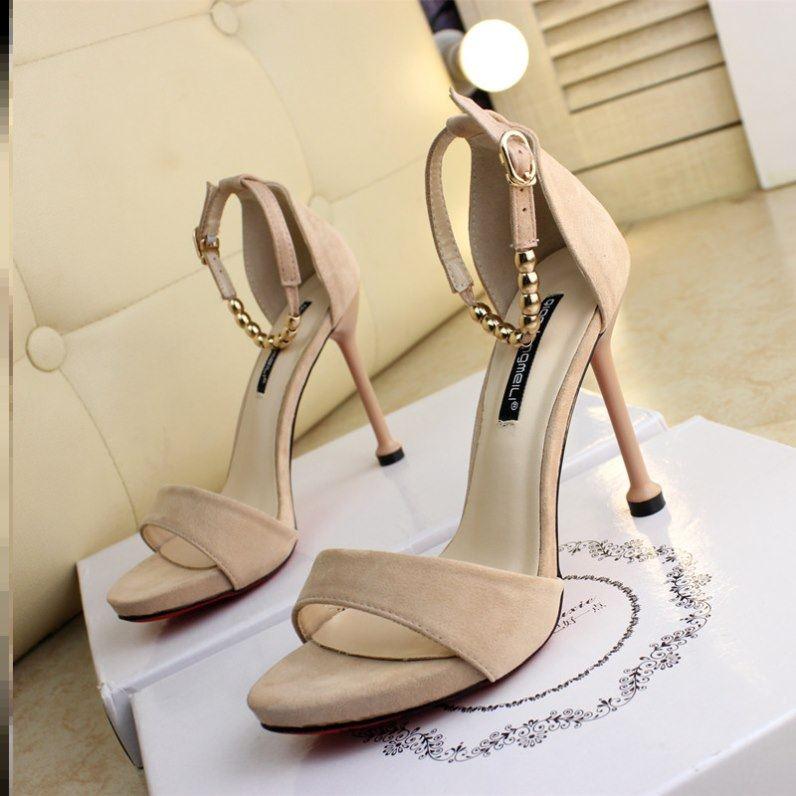 10cm summer new fine heel Beaded buckle suede comfortable black versatile high heel herringbone sandals womens super high heels