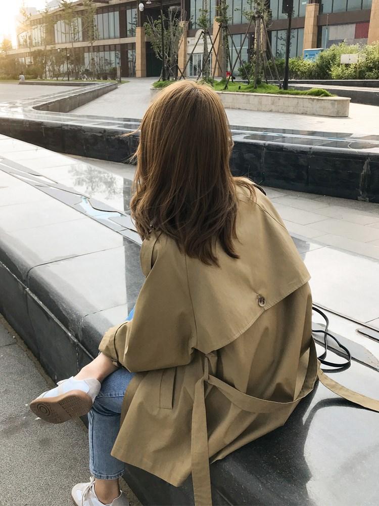Khaki windbreaker womens middle and long short student Korean British spring and autumn 2021 new slim coat trend