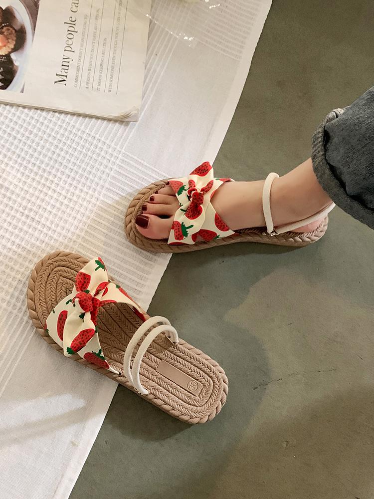 中國代購 中國批發-ibuy99 凉鞋女 网红罗马凉鞋女夏季平底仙女风2021年新款学生时尚两穿凉拖沙滩鞋