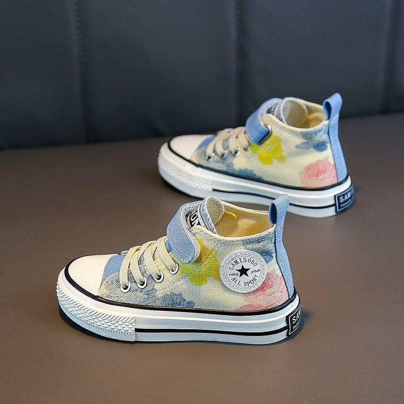 女童鞋子秋季2021帅气儿童高帮帆布鞋印花布鞋男童百搭潮新款板鞋