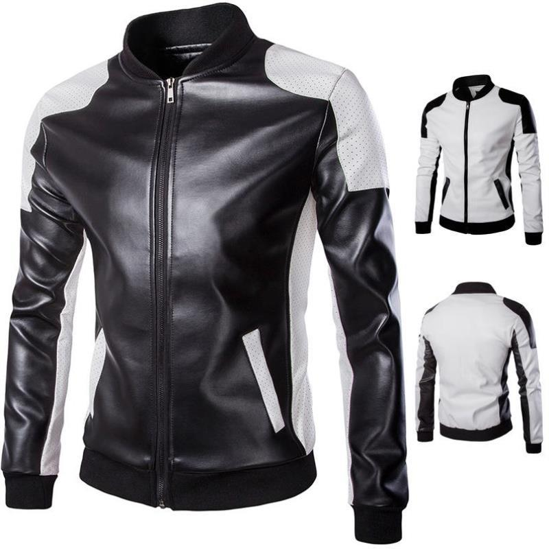 Fashion mens racing suit foreign trade mens stand collar motorcycle leather trend black and white color matching oversized jacket mens