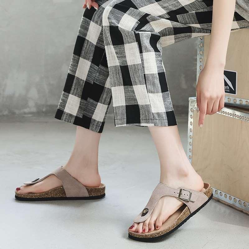 Flip flops womens summer 2021 fashion cork sandals mens versatile wear lovers beach shoes clip foot large size slippers