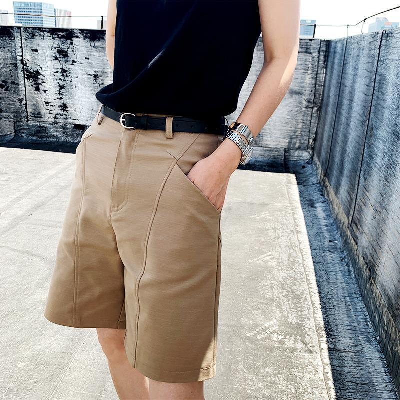 2021新款卡其色西装短裤女夏季高腰宽松显瘦休闲五分裤直筒中裤薄