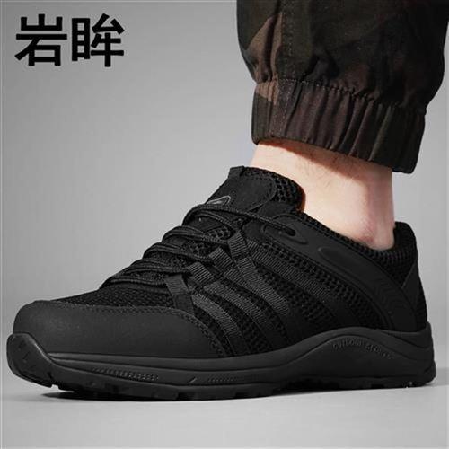 春秋低帮作训f鞋男黑色透气超轻跑鞋网眼户外训练鞋夏季徒步鞋