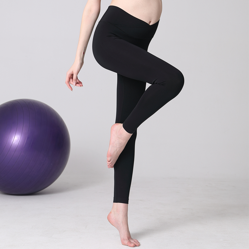 Pregnant womens Yoga suit, womens pregnancy top, special for pregnant women in spring and summer, low waist, spring and summer, and fitness pants for postpartum women