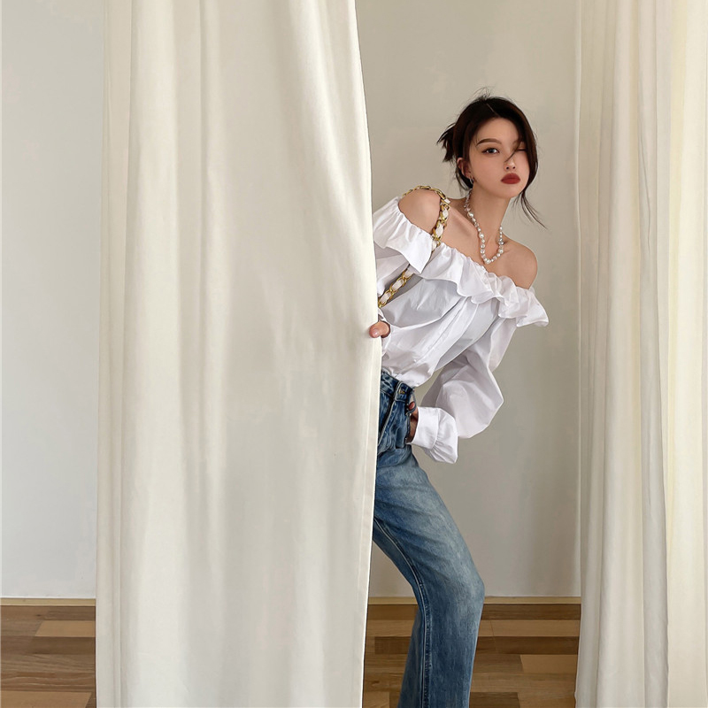 White shirt female one shoulder split long sleeve shirt loose medium long style early n autumn Ruffle edge niche temperament